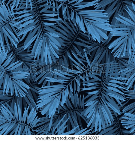 Indigo seamless pattern with monstera palm leaves on dark background. Summer tropical camouflage fabric design. illustration.