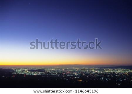 Indigo Sky and streetlights #1146643196