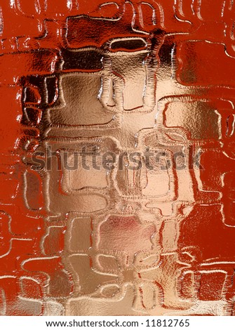 indistinguishable person behind pane on red background