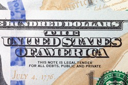 individual elements of American money close-up, details of cash, dollars in large denominations