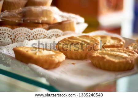 Individual portions of round shaped apple cake. Delicious european pastry sweets.