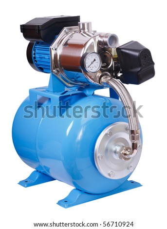 Individual pump station for the home. Electric high pressure pump - isolated on white.