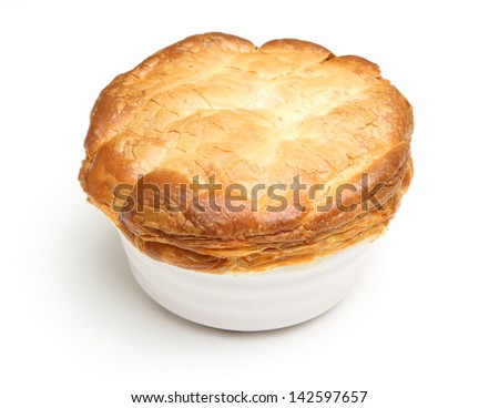 Individual steak pie, fresh out of the oven.