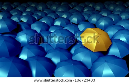 Individual thinking business symbol with a large group of blue umbrellas and standing out from the crowd as a confident yellow umbrella as icons of protection and financial security.