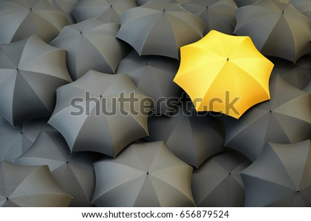 Individuality and difference concept, top view of unique yellow umbrella standing out from the gray crowd, 3d illustration