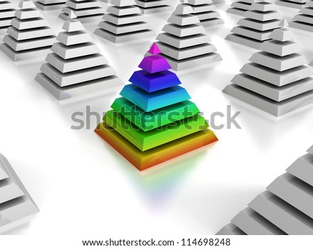 individuality concept colorful pyramid in white group
