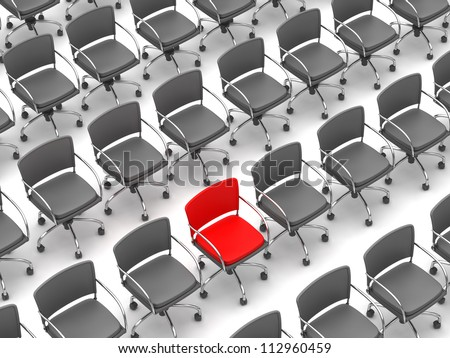 Individuality concept - one red chair and a lot of gray