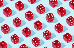 Individuality/ leadership concept. Red dice standing behind the crowd of plenty identical black ones. Leadership, uniqueness, independence, initiative, strategy, , think different, business success.