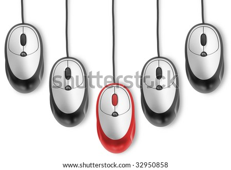 individuality. one red computer mouse with black objects