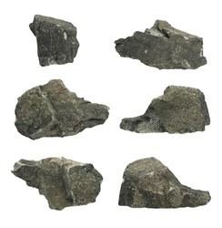 Individually isolated granite rocks. Clipping path included for easy extraction.