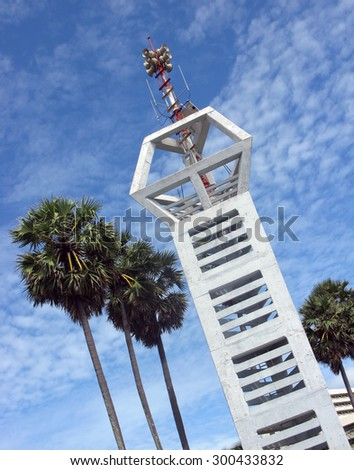 Indonesia, Bali. The Tower of seismic forecasting system with sirens notice tsunami, erected after the deadly underwater earthquake of 2004 in the Indian Ocean.