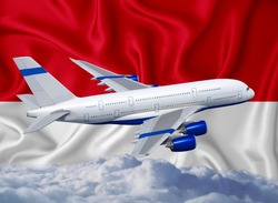 Indonesia flag with white airplane and clouds. The concept of tourist international passenger transportation.