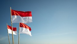 indonesia flags under blue sky independence day concept