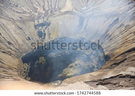Indonesia. Java. The crater of the volcano Bromo volcano. Bromo is an active volcano in Indonesia, part of the volcano complex TenGer. Located in the East of Java island. It has a height of 2392 meter