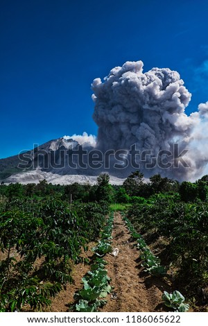 Indonesia's Mount Sinabung volcano erupted since 2014 until 2018, which located at Tanah Karo, north sumatera province #1186065622