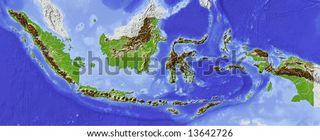 Indonesia. Shaded relief map. Surrounding territory greyed out. Colored according to elevation. Includes clip path for the state area.