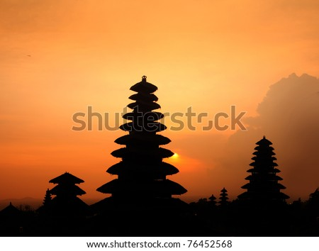 Indonesian old temple Pura Besakih at red sunset light. Bali