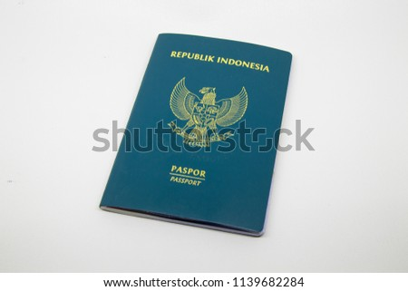 Indonesian passport 2014 in white background #1139682284