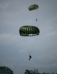 Indonesian special forces, paratrooper landing