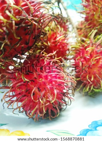 Indonesian special fruit called rambutan has a sweet and slightly sour taste