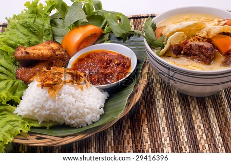 Indonesian traditional food, fried chicken and oxtail soup