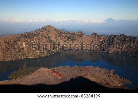 Indonesian volcano/trekking on mountain/hiking