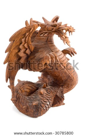 Indonesian  Wooden dragon isolated on white