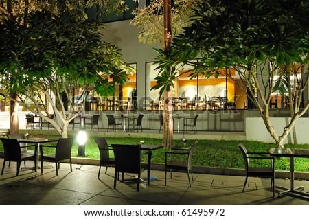 Indoor and outdoor restaraunts in night illumination, Pattaya, Thailand