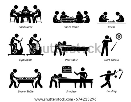Indoor Club Games and Recreational Activities. Stick figures depict recreation activity of card and board game, chess, gym room, pool table, throwing dart, soccer table, snooker, and bowling.