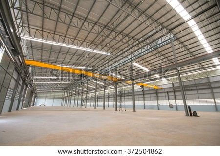 Indoor empty warehouse factory and crane with safety first text