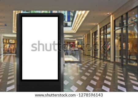 Indoor light box at mall ideal for advertising display, information board, digital signage or poster mock up marketing message