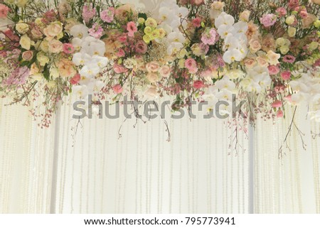 Indoor luxurious wedding ceremony backdrop and background