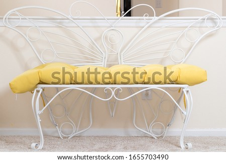 indoor metal butterfly bench. Decorative Chair Cushion Sofa Soft Seat Comfortable.  - Image