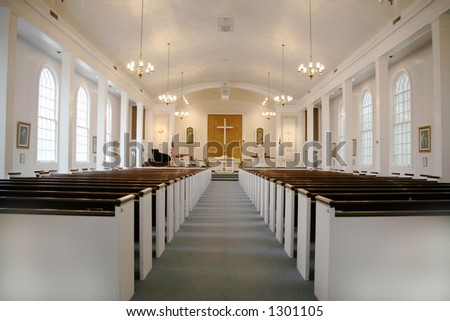 Indoor Methodist Church With Lights On