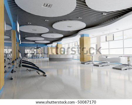 Indoor modern gymnasium.3D render