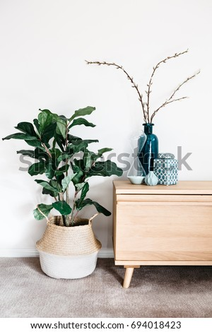 Indoor plant in a woven basket next to a buffet of vases