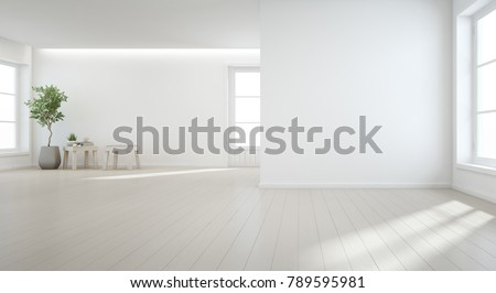 Indoor plant on wooden floor with white wall background in large room at modern new house for big family, Vintage window and door of empty hall or natural light studio -Home interior 3d illustration