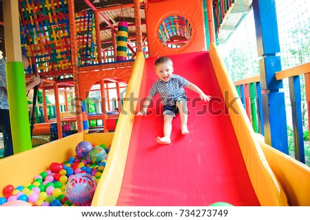 Indoor playground with colorful plastic balls for children #734273749
