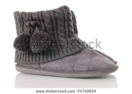 Indoor Shoes with Fuzzy Ball Assets Against White Background