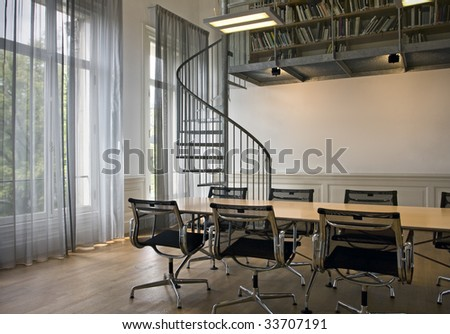 indoor shot of small office with spiral stairs on background awesome office table top view shutterstock id