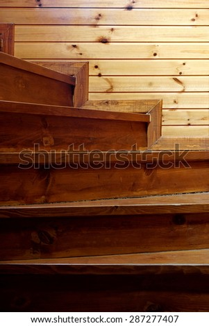 Indoor Spiral  Rustic Pine Wood Staircase Vertical Background From Darkness To Light