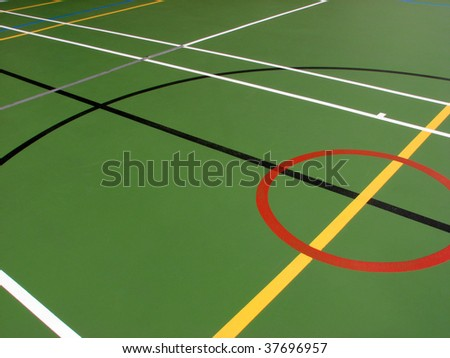 Indoor sports hall showing different floor markings