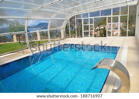 indoor swimming pool at modern home