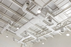 Indoor ventilation system on hight ceiling of large building.