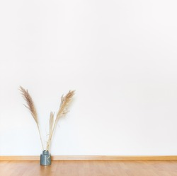 Indoors flat wall mockup with dried Pampas Grass in minimalist style. Earthy Neutrals Tones Background. Interior in airy light style with wooden floor and white wall