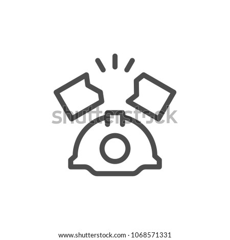 Industrial accident line icon isolated on white
