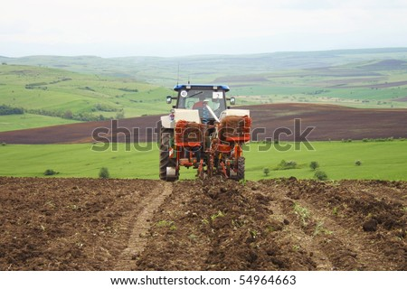 Industrial agriculture on romanian hills