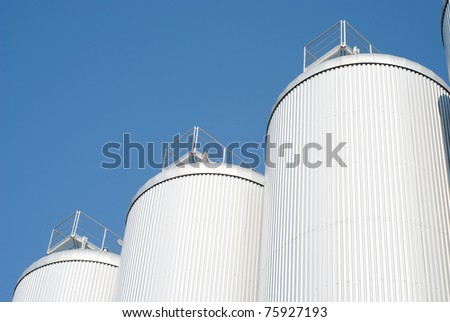 Industrial Agriculture Silo Housing Grain with Copy Space