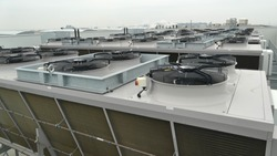 Industrial ammonia NH3 or Co2 condensers on refrigeration system used for cooling chillers and freezers at distribution center