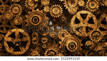Industrial and mechanical background. Engine and technology concept.3d illustration.Old watch gear mechanism background